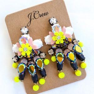 J. Crew Floral Gem Statement Earrings